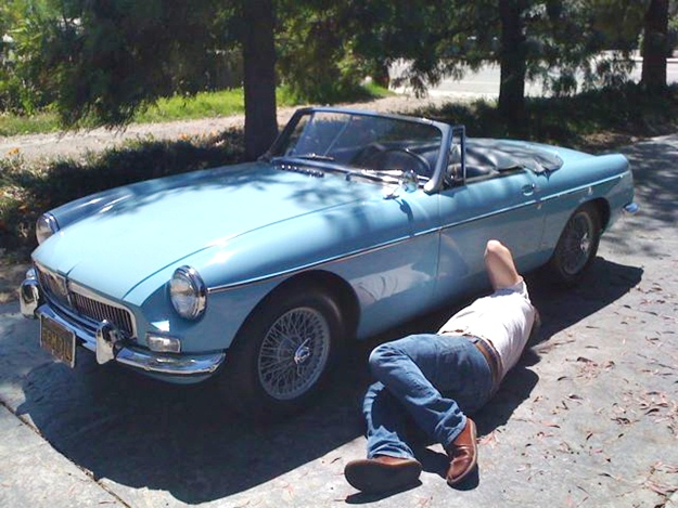 My colleague Jamie Kitman bought this MGB, and undoubtedly will spend many moments in this position.