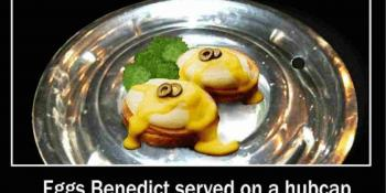 Eggs Benedict Served on a hubcap